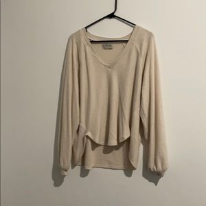 UO cream v neck terry sweater size small